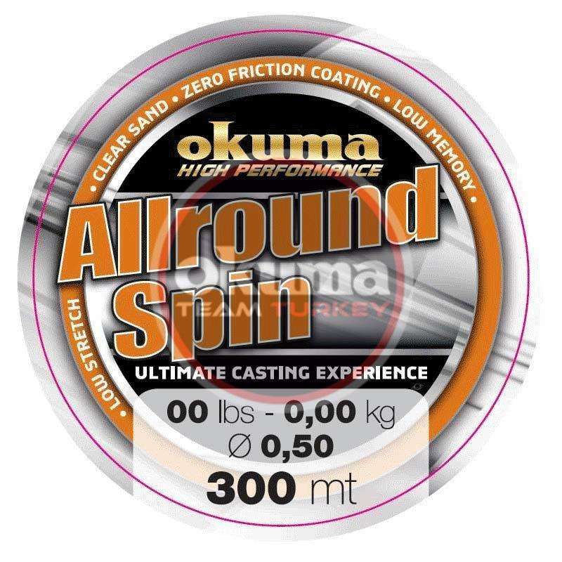 Okuma Allround Spin 300 mt 17,00 lb 7,6 kg 0,30 mm Brown Misina