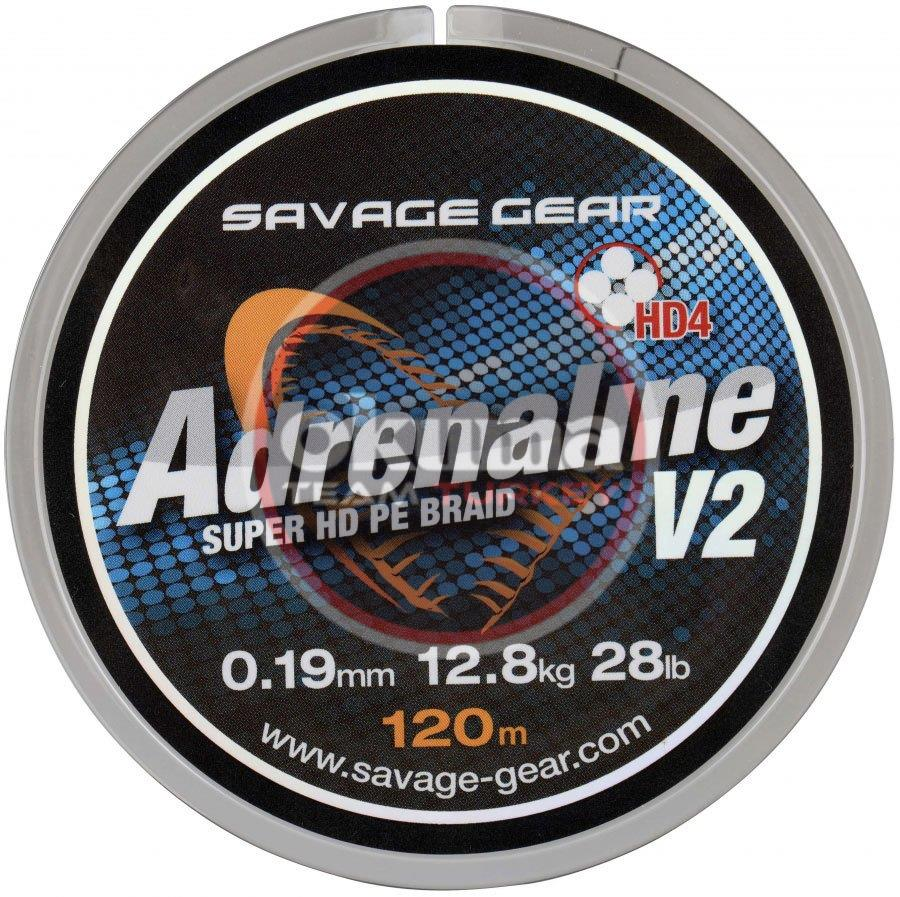 Savage gear HD4 Adrenaline V2 120 m 0.19 mm 28 lbs 12.8 kg Grey